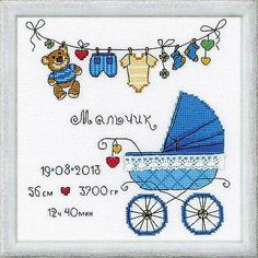 COUNTED CROSS STITCH KIT RIOLIS IT'S A BOY BABY BIRTH RECORD!! Here it is!! Brand New! Get right to work on this gorgeous design. PRODUCT DETAILS/KIT CONTAINS: Includes full alphabet and easy instruct