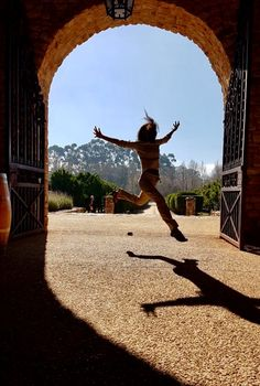 Jumping with joy after Chocolate and Wine tasting at Waterford Vineyard, Stellenbosh, South Africa. June 2017
