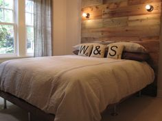 16 Gorgeous DIY Bed Frames- Tutorials, including this barn wood bed by Mrs Fancy Pantz