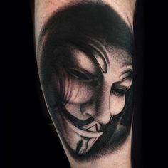 V for Vendetta By Womble (me), Skin Graphics, Lowestoft, UK, wombletattoos.tumblr.com, look me up...