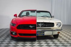 """""""side-by-side"""" 1965/2015 Mustang Front View"""
