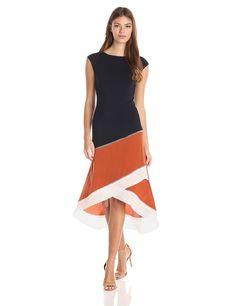 Amazon.com: Bailey 44 Women's Rumors Colorblock Asymmetrical Dress, Navy/Terracotta, X-Small: Clothing