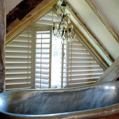 Chic, solid wooden shutters from The New England Shutter Co provide light & privacy and are the perfect water-resistant solution to screening bathroom windows Wooden Shutters, Window Shutters, Sandblasted Wood, Conservatory Roof, Interior Railings, Shutter Designs, Shaped Windows, Glass Building, Solar Shades