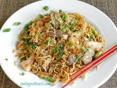 Combination Yaki Soba is my favorite meal to get when we go to a Japanese Steakhouse. Chow mein noodles, steak, chicken,and shrimp, and vegetables in a tangy Asian sauce. Steak And Shrimp, Chicken And Shrimp, Pasta Dishes, Food Dishes, Main Dishes, Asian Recipes, Healthy Recipes, Japanese Recipes, Healthy Treats