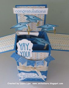 Graduation Pomp (side view) by Laura M. Lipe - Cards and Paper Crafts at Splitcoaststampers Card In A Box, Pop Up Box Cards, Card Kit, Card Boxes, Handmade Birthday Cards, Handmade Cards, Exploding Box Card, Pop Box, Interactive Cards