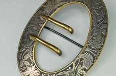 Beautiful Antique Signed EAO Brass Silver Pin Belt Brooch   eBay