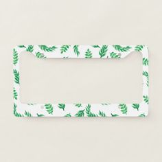 #Green Watercolor Tropical Leaves Pattern License Plate Frame   #customize