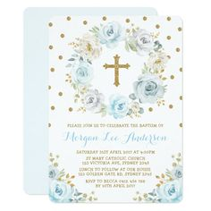 Shop Soft Dusty Blue Gold Floral Baptism Christening Invitation created by BlueBunnyStudio. Personalize it with photos & text or purchase as is! Baptism Invitations Girl, 1st Birthday Invitations, Gold Invitations, Watercolor Invitations, Custom Invitations, Kids Boho Party, Create Your Own Invitations, Dusty Blue, Blue Gold