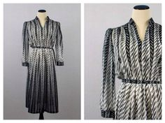 ★★★ New Arrival ★★★ Black and White  Secretary Dress  Size Large by TheBirdcageVintage, $54.99 #vintage #etsy