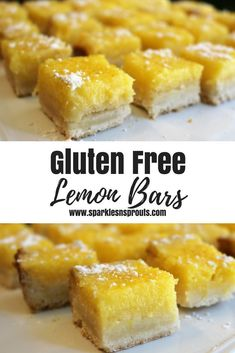 Gluten Free Lemon Bars are the perfect summer treat.  They are bursting with tons of lemon and gluten free so everyone can enjoy them. . #lemon #lemonbars #dessert #summer #dessert #sparklesnsprouts