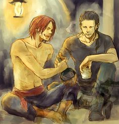 Ben Beckman and Shanks - Drinking Buddies. One Piece Ship, One Piece Luffy, One Piece Fanart, One Piece Manga, One Piece English Sub, Es Der Clown, One Piece Series, Cartoon Fan, One Piece Pictures