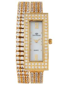 Blissskart Exclusive Diomand Cut Swarovski Element Gold Bracelet Rectangular Dial Watch in India. Deals and discount coupons for Branded watches. Bracelet Gender : Women Display : Analog Dial Shape : Rectangular Dial Dimension in MM : 38×16 MM Wearability : Party-Wedding Warranty : 1 Year