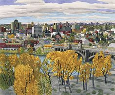 Hughes (b. Calgary, Alberta, Watercolour on paper, Collection of Glenbow Museum. Canadian Artists, American Artists, Group Of Seven, Vancouver Island, Watercolor Art, Skyline, Urban, Cityscapes, Calgary