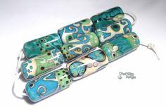 ORACLE Lampwork Beads  Long Tube Cylinders by desertbugdesigns