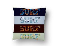Surfer Bedding Surf, Surf, Surf Throw Pillow