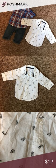 Carters 3 month boy outfit and button down One pair of jeans and two button down shirts. First shirt is white with grey squirrel print, second shirt is blue/maroon plaid. Jeans are medium wash denim. All are size 3 months. Perfect condition. Carter's Matching Sets