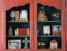 love this french cabinet, chicken wire, color combo and styling!