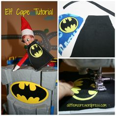 Here is the easy peasy elf cape tutorial! You need a 5 inch scrap of fabric cut into a triangle. A piece of ribbon or yarn Logo of your choosing I found batman fabric at in my local fabric stores r...