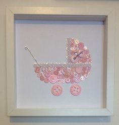 Handmade button baby pram framed wall art