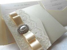 Grace pocket-fold wedding invitation