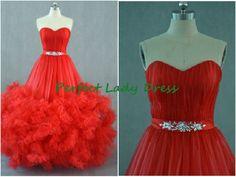 QQ263 full tulle skirt red wedding por Perfectladydress en Etsy