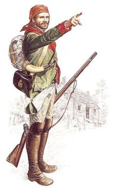 """A soldier of Butler's Rangers, 1778-1783 - """"Butler's Rangers were uniformed in green, with red facings. This man, dressed for campaigning, wears his lapels buttoned over. There is record of a leather cap worn by the unit, but reconstruction shows an unofficial substitute - a kerchief. There is also some information that Butler's men wore green smocks on some occasions. All in all, this famous (or infamous) regiment must have presented a very mixed appearence in the field."""""""