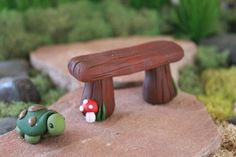 Polymer clay bench Terrarium Accessories Miniature by GnomeWoods