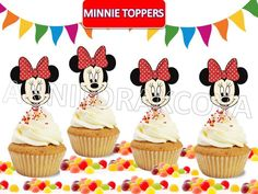 Printable Disney Minnie Mouse RED Cupcake Topper, Cake Pop Topper,picks, decor #Disney #party