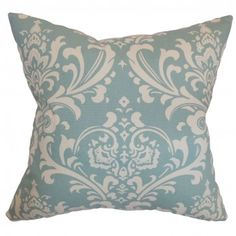 This classy home accessory is perfect for accentuating your bed, sofa, sectionals or chairs. Fancy and intricate damask pattern adorns this accent pillow adding a touch of sophistication. The village blue hue is highlighted with white details.This square pillow goes well with other patterns and colors. Crafted from 100% plush cotton fabric. $55.00 #pillows #homedecor #damask #tosspillow #interiorstyling