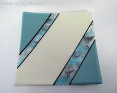 Art Glass Fused Tray Plate Blue Storm Square