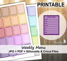 50% Sale, Weekly Menu Printable Planner Stickers, Erin Condren Planner Stickers, Weekly Menu Printable Stickers, Weekly Menu- CUT FILES