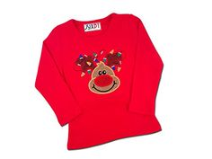 Juxby Baby Girls Glitter Reindeer with Holiday Lights Applique Shirt18m Red * Click on the image for additional details.