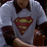 Superman T-Shirt  http://redirectingtoamazon.blogspot.com/2014/09/blog-post.html  Season 1, Episode 2 (The Big Bran Hypothesis);  Season 2, Episode 19 (The Dead Hooker Juxtaposition); and Season 3, Episode 5 (The Creepy Candy Coating Corollary)