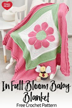 In Full Bloom Baby Blanket free crochet pattern in Soft Baby Steps yarn. Crochet this special blanket to welcome baby and then offer comfort through toddler years. It's a sweet design that can be done in any shades to coordinate with or accent the nursery Crochet Afghans, Afghan Crochet Patterns, Baby Patterns, Crochet Blankets, Redheart Free Crochet Patterns, Baby Afghans, Crochet Baby Blanket Beginner, Crochet Baby Blanket Free Pattern, Beginner Crochet
