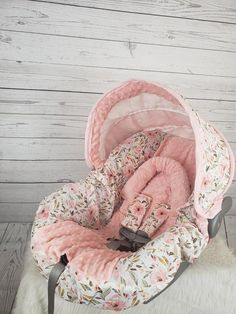 Pink and peach floral baby car seat cover custom order Etsy Baby Girl Car Seats, Baby Girl Carseat Covers, Car Seat Blanket, Twin Babies, Babies Nursery, Girl Nursery, Baby Room, 3d Rose, Carters Baby Boys