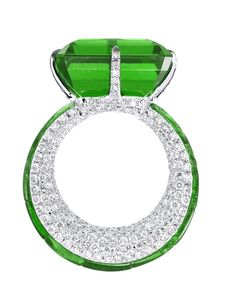 Extremely Rare Colombian Emerald mounted in 18k white gold, set with 11 calibrated cut Colombian emeralds, 376 round diamonds by Glenn Spiro