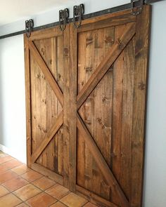 Barn doors with steel track system.