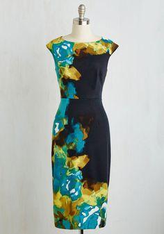 RSVP Ready Dress - Multi, Blue, Floral, Print, Cocktail, Sheath, Cap Sleeves, Better, Long, Knit