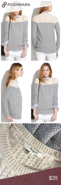 👚🌺❤️️Madewell color block sweater ♥️ Beautiful gray cream color block cable knitted adorable sweater by Madewell so comfy and cute on in excellent condition ♥️ Madewell Sweaters