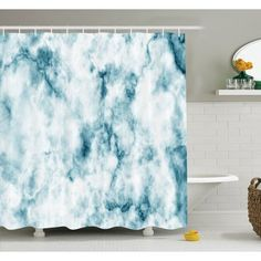 """East Urban Home Fluffy Cloud Skyline Like Marble Motif with Grunge Features Art Image Shower Curtain Set Size: 75"""" H x 69"""" W"""