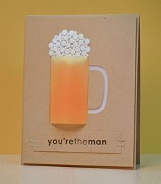 To create a realistic looking beer mug, I used vellum to mimic frosted glass.  The amber beer color was created by rubbing yellow and orange ink on the backside of the vellum and placing a deep rich yellow cardstock behind it all