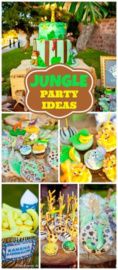 A jungle safari themed baptism for twins with adorable cupcakes, cookies and cake! See more party planning ideas at CatchMyParty.com!