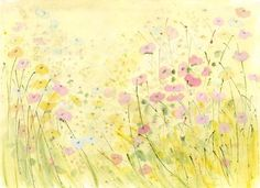 Endless Summer by Sue Fenlon Watercolor Paintings, Wall Paintings, Meadow Flowers, Black And White Aesthetic, Bedroom Art, Watercolor Techniques, Whimsical Art, Illustrations Posters, Flower Art