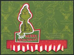 """""""Merry Grinchmas"""" card by Susan M. Brown {sbartist} using Unscripted Sketches #165"""