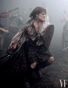 Outlander Season 2 Battle of Prestonpans Jamie Fraser / Sam Heughan in action