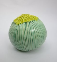 Small Turquoise and Chartreuse Striped Ceramic Pod Vase. $20.00, via Etsy.