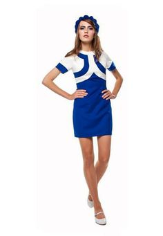 2-Tone MARMALADE Retro 60s Mod Airline Dress | atomretro.com