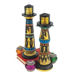 Design Toscano Temple Of Luxor Sculptural Hand Painted Egyptian Candle Holders  #DesignToscano