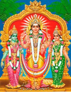 Lord Kartikeya with his consorts