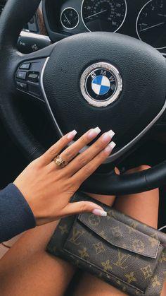 Pin by sarah elizabeth :) on nails ✰ French Tip Acrylic Nails, French Acrylics, Square Acrylic Nails, Best Acrylic Nails, French Nails, French Manicure Nails, Nail Swag, Aycrlic Nails, Hair And Nails